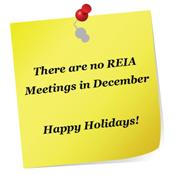 There are no REIA Meetings in December.  Happy Holidays!