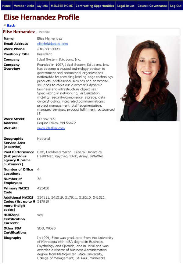 Member Directory Profile Sample
